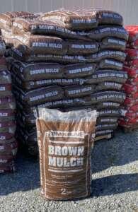 bag of shredded dyed brown mulch