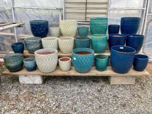 White and blue decorative pottery